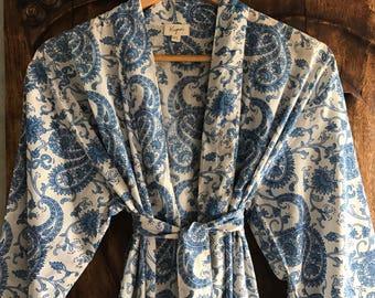 Kiyomi Blue Paisley Kimono Dressing Robe, 100% Cotton, Byron Bay