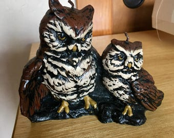 Brown Vintage Wax Candle of Two Owls Mother and Baby