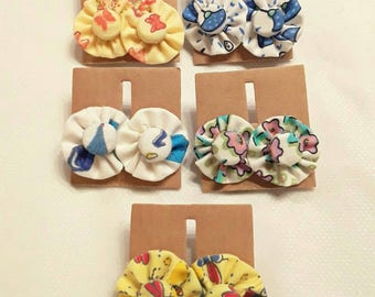 Vintage fabric rosette earrings