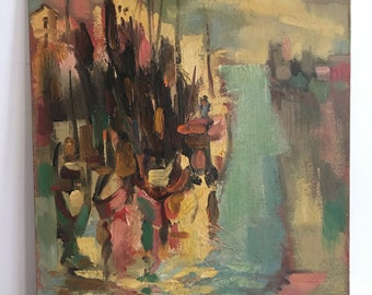 """Vintage Midcentury Modern Abstract Harbor Painting on Board Signed O E L Graves - Listed Artist 13.75"""" x 17.75"""""""