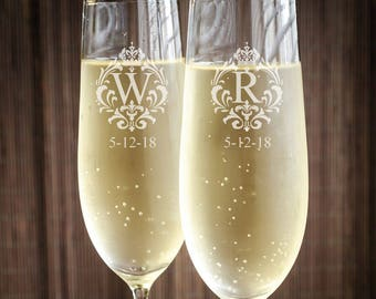 Royalty Crown Engraved Wedding Toasting Flutes (ppd2026)