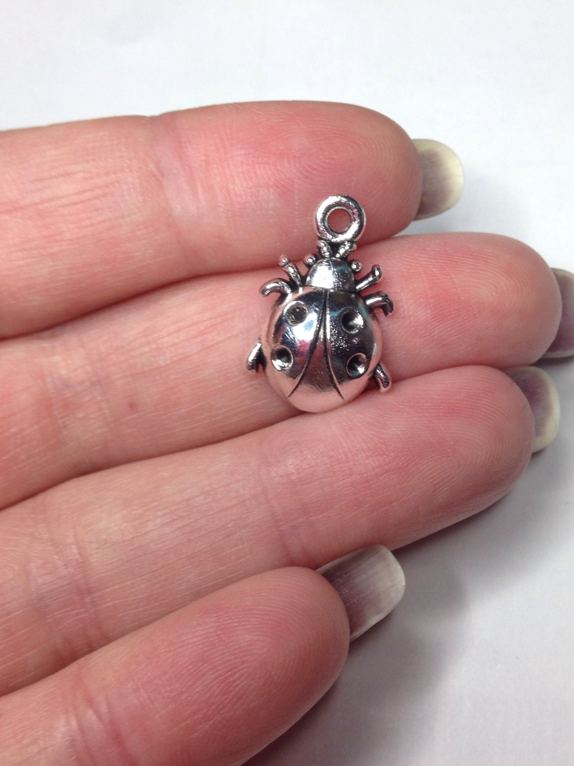 X 5 Ladybug Charms Antique Silver Tone Insect Charms