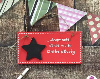 Sleeps until Santa countdown plaque