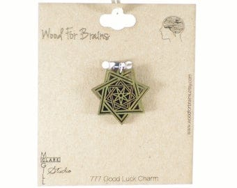 7 Sided Star 777 Good Luck Charm- Laser Cut Wooden Pendant
