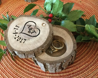 Wood Ring Box Rustic Country Wedding Ring Holder Custom Personalized Engagement Ring Bearer Wood Laser Engraved Wooden Bride Gift