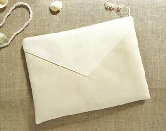 Modern Bride Clutch Wristlet Flat Envelope Ivory Faux Suede Bride Money Dance Purse