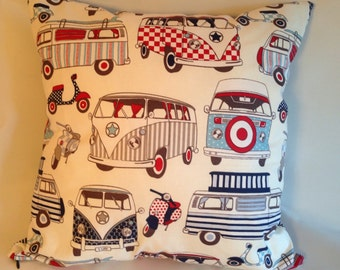 Retro VW Camper Van pillow, MOD scooter vespa cushion, man gift, grandad chair, Father's Day gift