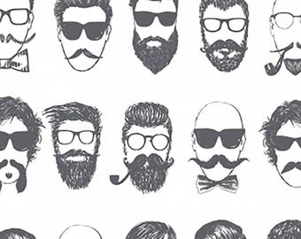 Hipster Barbershop Cotton Fabric