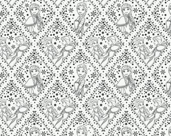 Disneys Frozen Colouring Cotton Fabric