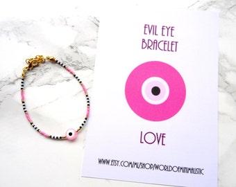 Love evil eye bracelet, layering bracelet, evil eye jewelry, protection bracelet, stackable bracelet, adjustable bracelet, dainty bracelet