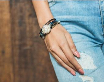 Mabe Pearl Bracelet, June Birthstone, Black Leather Bracelet, Metal Beads Bracelet, Elegant Bracelet, Leather Wrist Band  LO 19