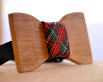Wooden Bow Tie - Regular shaped Black walnut with red plaid center