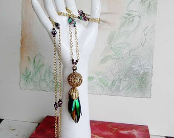 Long boho necklace : rainbow beetlewings under  brass filigree ball and tulip hanging on vintage beads and gilded chain