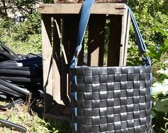 Shoulder purse / bag black / blue leather / upcycled design / creative papers