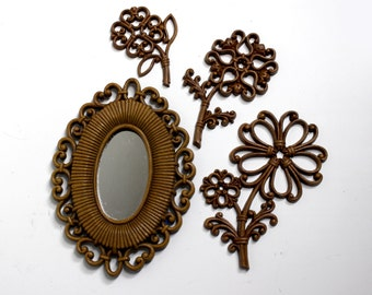 Vintage Homco Mirror and Flowers