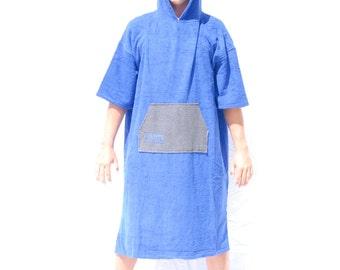 The Amigo Towel Blue/Grey pocket