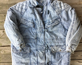 XL woman's acid washed quilted coat