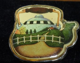 Meink Sterling and Lucite Teapot Brooch