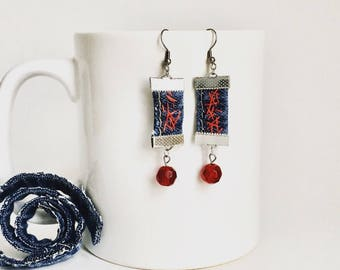 Earrings in recycled jeans. Handmade. Stainless steel. Hypoallergenic