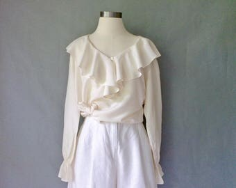 vintage 100% silk ruffle collar long sleeve blouse/shirt/top women's size S/M/L