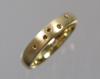 585 gold ring with 5 champagne diamonds Gr. 54 gold unique forged master work