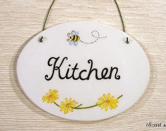 Kitchen wall sign, kitchen ceramic sign, hand painted kitchen sign, kitchen plaque, kitchen ceramic art, kitchen wall art, kitchen decor.