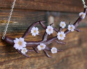 sakura tree necklace, sakura branch necklace, sakura necklace, cherry blossom necklace, cherry blossom tree necklace