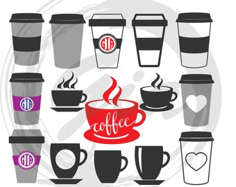 Coffee Cups Monogram Frame SVG, coffee mug svg, coffee cipart, ready to cut files for Cricut, Silhouette etc, also in png, eps & DXG