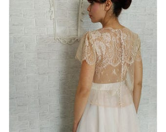 Bridal lace top, separated wedding dress, bridal wedding dress, colored silk, ECHO, blush, blush lace top, unconventional wedding dress