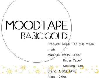 Washi Tape GOLD-The star moon myth,scrapbooking stickers,DiY,Paper Decorative masking Tape