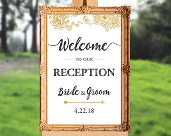 Wedding reception welcome sign - welcome to our reception - PRINTABLE - 16x20 - 18x24 - 20x30 - 24x36