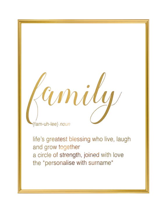 Personalised Definition Of Mum Print: Family Definition Print Personalised Print Housewarming