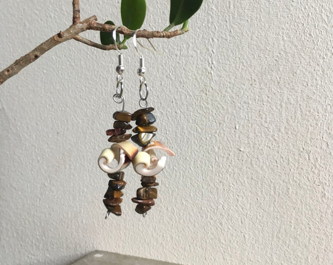 Tigers Eye and Seashell Earrings tributing Mother Nature