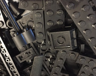 500+ Black Lego Brick Pieces!!! Free Minifigure!!! Star Wars, Harry Potter, City, Castle, Space, Marvel, and Pirate Pieces! Birthday Craft I