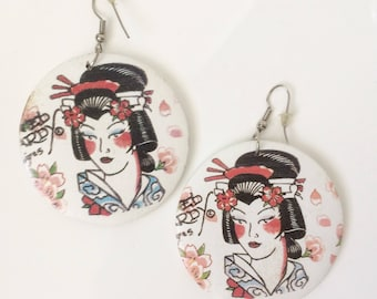 Ed Hardy Tattoo Style Geisha Earings - Large - PinUp Style