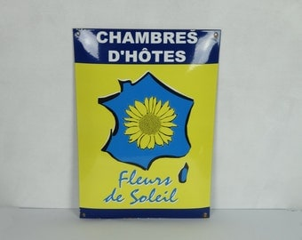 French enamel sign, bed and breakfast, vintage wall decor