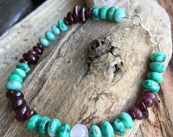Pretty bracelet /women's gift /green agate,garnet chips, rose quartz and sterling silver hook closure