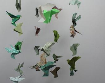 Mobile origami birds, mobile suspension, presents birth, child mobile