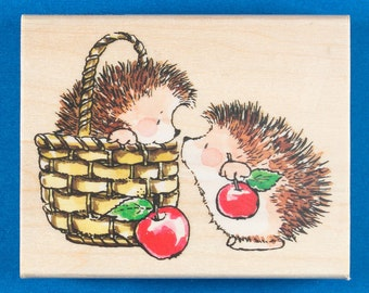 Hedgehogs with Basket and Apples Rubber Stamp - Cute Animals Touching Noses - Penny Black 4061K