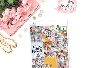 Kiss The Cook Full Boxes || Vertical || Planner Stickers || Erin Condren Life Planner