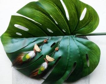 "Earrings feather, ethnic, folk, coconut, ""Kerala"", single, green, yellow jewel collection"