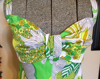 70's maxi dress • floral maxi dress • maxi dress • vintage maxi dress • green dress