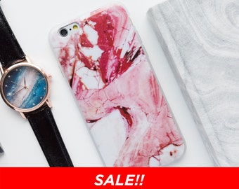 SALE - iPhone 6 Plus/6s Plus Case - Pink Marble - Pink Marble iPhone Case, Minimalist iPhone Case, iPhone 6 Case, iPhone 6s Case, White