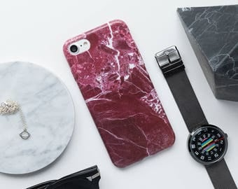 iPhone Case - Red Marble - iPhone 7 Case, iPhone 6 Case, iPhone 6s Case, Red Stone, Minimalist iPhone Case, Red, Marble Case, High Fashion