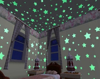 100 Home Wall Glow In The Dark High quality glowing stars room decoration gift Christmas Space Star Stickers