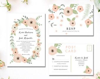 Printable Wedding Invitation Suite | Floral Wedding Invitation | Summer Wedding | Digital Invitation | Woodland Crown | Rustic | PDF