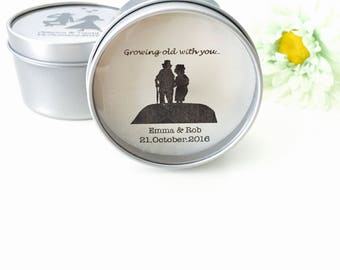 Growing old with you papercut- Personalised Candle Tin Favours Wedding