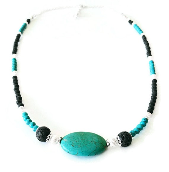 Turquoise and Lava Stone Color Block Necklace, December's Birthstone, Turquoise Necklace, Gemstone Jewelry, Unique Birthday Gift