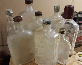 Vintage Whisky Bottles - lot of eight (8)