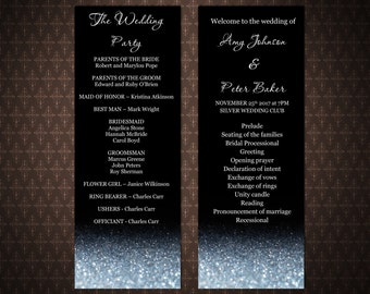 Black and Silver Glitter Sparkles, Silver and Black DIY Printable Wedding Program, Instant download, Editable wedding program, code-034